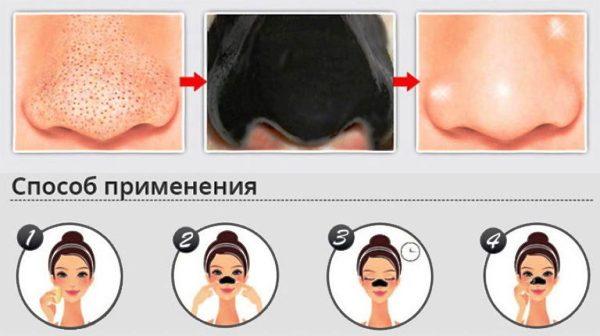 Применение-маски-от черных точек на носу