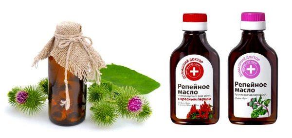 растение репей и репейное масло в флаконе